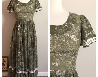 60s Toile Print Olive Green Maxi Dress