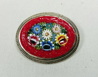 Vintage Mid Century Micro Mosaic Red Floral Brooch, Silver, Grand Tour Souvenir Jewelry, Italy