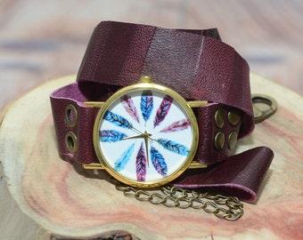 Purple Watch, Purple Watch Women's, Womens Watches, Leather Wrap Watch, Leather Wrap Around Watch, Quartz Watch, Boho Accessories, Boho Chic