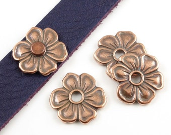 Copper Bead - Antique Copper Flat Flower TierraCast APPLE BLOSSOM RIVETABLE Leather Jewelry Supplies Tierra Cast Pewter (ps491)