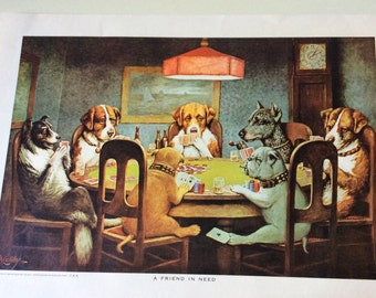 C. M. Coolidge Poker Dogs / Masterpiece Muralettes, Set of 4/C.M. Coolidge/Poker Dogs/Brown & Bigelow/Cassius Marcus Coolidge/Muralettes