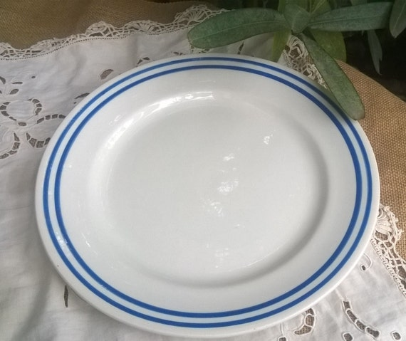 Vintage White French Porcelain Plate Blue Circle Serving Dish Cake Plate E. Charbonnier Salins Made in France Veronique #SophieLadyDeParis