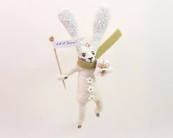 READY TO SHIP Vintage Inspired Spun Cotton Winter Bunny Rabbit Ornament