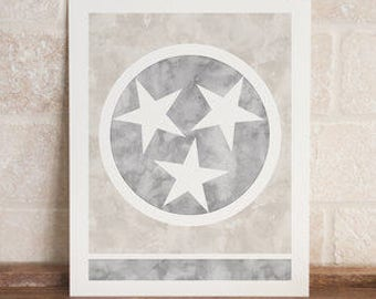 tennessee tristar neutral watercolor print