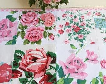 vintage pink roses patchwork table topper