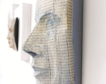 book sculpture wall object carved face relief mask - no bookfolding - made to order