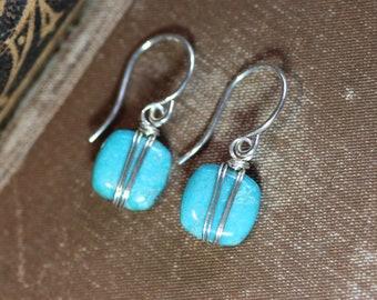 Turquoise Earrings Silver Wire Wrapped Gemstone Earrings Blue Earrings