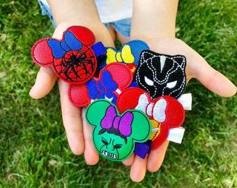 The Mouse Heroes Feltie Headband or Hair Clip- Batman, Hulk, Superman, Captain America, Deadpool, Wonder Woman, Iron Man, Spiderman