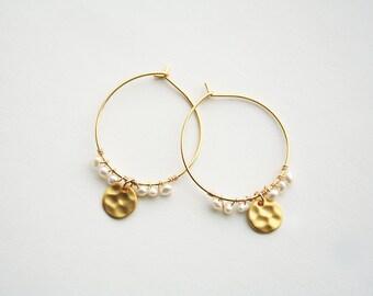 Pearl Earrings, Bridesmaid Earrings, Bohemian Bridesmaid, Hoop Earrings