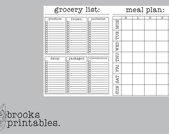 A6 RINGS Grocery & Meal Planning Insert | Printable Inserts
