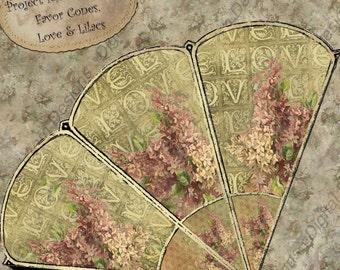 Valentine Instant Download Digital Printable Favor Cone -  Set 1 Love and Lilacs