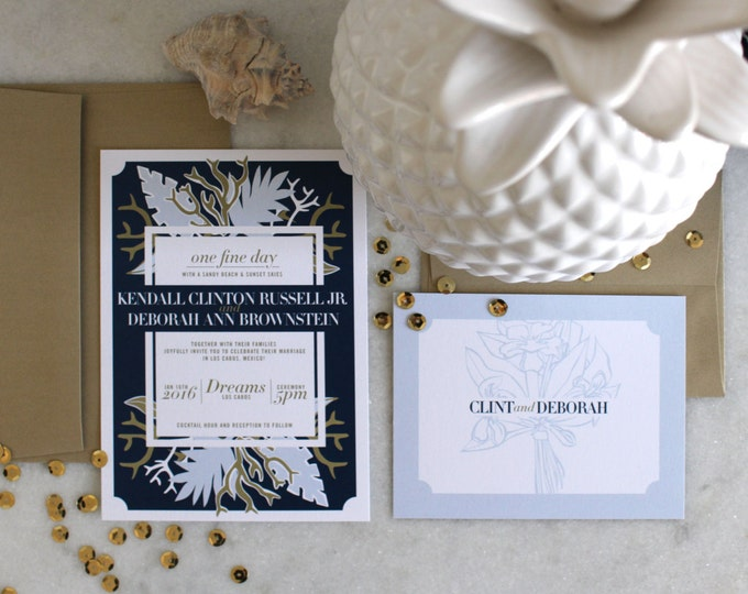 PRINTABLE Wedding Invitation Suite | Coastal Daze in Navy & Gold