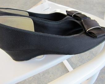 60s Daniel Green Slippers Vintage Wedge Heel 1960s Shoes - Black Satin Bows - Boudoir Peep Toe - B55
