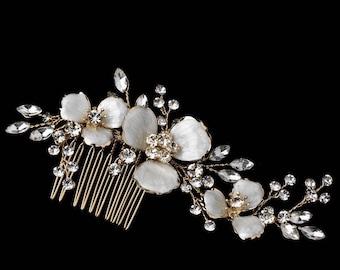 Crystal Floral Bridal Hair Comb Wedding Hairpiece, Gold Flower Hair Comb, Silver, Weddingl Headpiece, Bridal Hairpiece