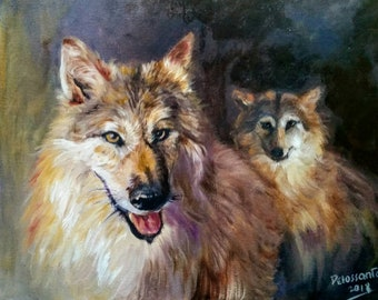Two himalayan wolves. Oil on canvas 16x20""
