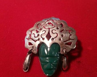 Vintage Mexican sterling silver tribal mask pin brooch