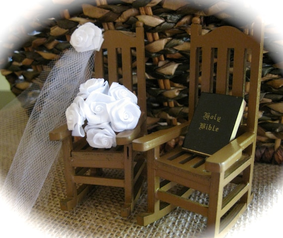Rustic Miniature Rocking Chairs Cake Topper with Veil, Bouquet and Bible