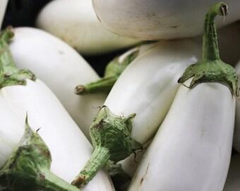 White eggplant,16,Melinzana, eggplant seeds,  organic seeds, heirloom seeds,gardening, summer white eggplant