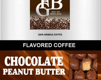 Chocolate PEANUT BUTTER Cup flavored coffee, Whole Bean roasted coffee, 2oz SAMPLER