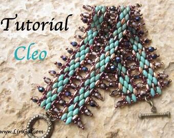 Cleo Superduo Twin   Beadwork Bracelet PDF Tutorial