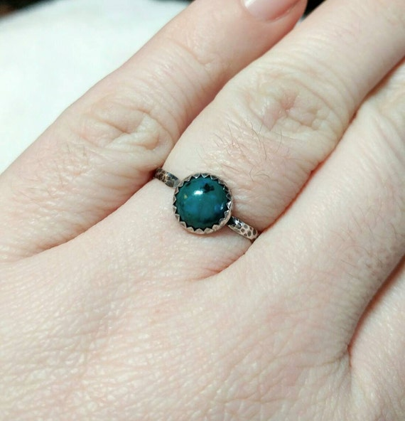 Ocean Blue Stone Ring | Sterling Silver Ring Sz 8.75 | Simple Blue Stone Ring | Chrysocolla Ring | Simple Green Stone Ring | Rustic Ring