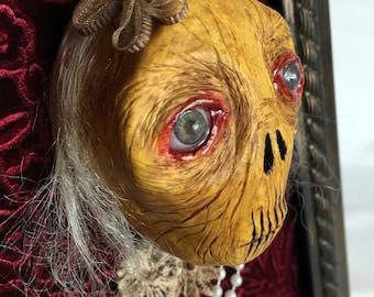 Sculpted art doll / creepy shriveled Granny / Halloween decoration / wall art / ooak pure sculpt