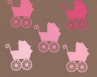 """25 - 2"""" Baby Buggy Die Cuts Paper Craft Embellishment Pinks Set 7013"""