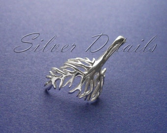 Large Sterling Silver 925 Asymmetric Branch Pinch Bail for Pendant with Swarovski Crystals Finding reference code B114S