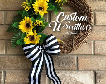 Summer Wreath - Grapevine and Sunflowers