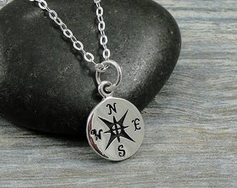 Tiny Compass Necklace, Silver Compass Charm on a Sterling Silver Cable Chain
