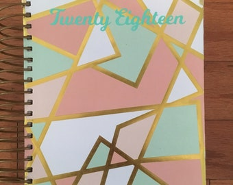Pink and Gold Geometrical Planner