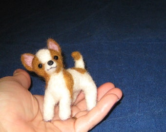 Needle Felted Animal / Needle Felted Dog / Your Pet in Miniature from your photos / example Chihuahua / animated style small size