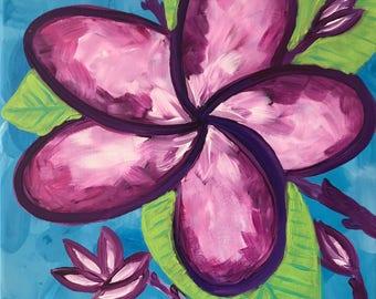 Plumeria dream. Original Acrylic Painting. Purple Flower, Plumeria. Whimsical painting.