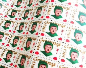 Vintage 1953 Greetings Choir Boy Seals / Tuberculosis Seals / Vintage Letter Seals / Envelope Seals / Craft Supplies / Scrapbooking /
