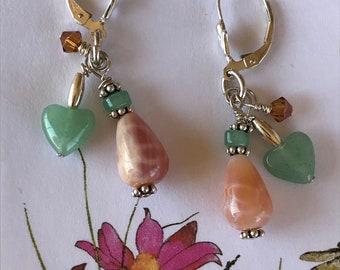 Gemstone earrings, fire agate earrings, 3 dangle earrings, beaded earrings, green and peach earrings, heart earrings, sundance style