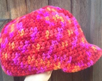 Crochet Beanie Hat with Brim