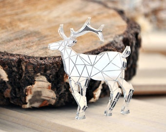 Deer pin brooch - mirror deer brooch, mirror silver gold deer brooch, mirror deer brooch, mirror acrylic deer brooch pin - made to order