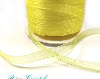 "5 meters Polyester Organza Ribbon, Yellow, 1/4""(6mm)"