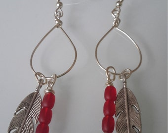 Red Bead and Feather earrings