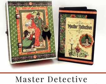 Graphic 45 - Master Detective - Mixed Media Box and 5x7 Album Class Kit