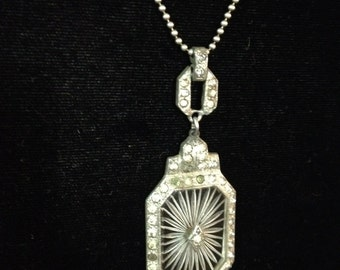 Vintage Art Deco Starburst Quartz Pendant on Sterling Silver Chain