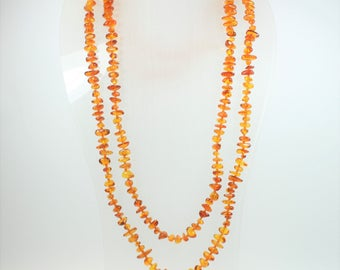 Boho Style Baltic Amber (琥珀色)Freeform Beaded Necklace
