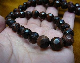 20 inch long Red Tiger's eye faceted 10 mm bead Beads beaded Necklace jewelry V317