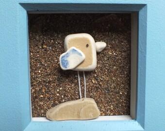 Scottish Sea Pottery Bird Picture - Handmade in Scotland - Beach Theme - 3D Wall Art - Bird Lovers Gifts - Seaside Decor - Birdwatchers Gift