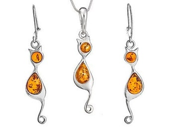 Sterling silver gift-amber cat jewelry-silver cat jewellery-088