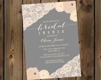 Bridal Shower Invitation -Grey and Cream- Flowers and Lace - DIY - Printable _76