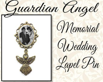 Guardian Angel Wedding Brooch or Lapel Pin, Memorial Wedding Pin, Mother of the Bride, Boutonnière Pin, Antique Silver or Antique Brass