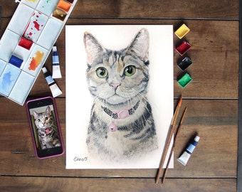 Custom pet portrait. Watercolor painting. Original. Custom dog portrait. Custom cat portrait.