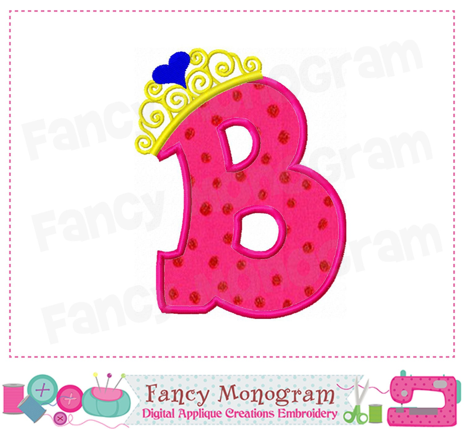 pincess crown monogram b appliquebirthday letter b