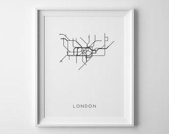 London Print, Subway Art, London Subway Map, Subway Map Print, Subway Art Print, London Printable, London Subway Art